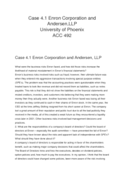 Case 4.1 Enron Corporation and Andersen,LLP
