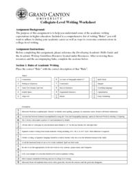 UNV 103 Week 5 College Level Writing Worksheet