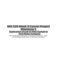 MIS 535 Week 3 Course Project Milestone 1