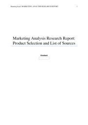 MKT 245 Week 1 Marketing Analysis Research Report: Product Selection and List of Sources